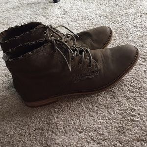 Gianni Bini green ankle lace up booties